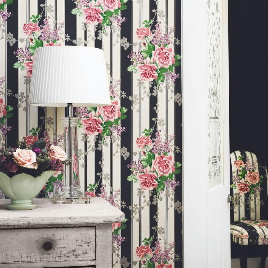 Papel pintado flores vintage románticas con fondo a rayas Amaranta 565482