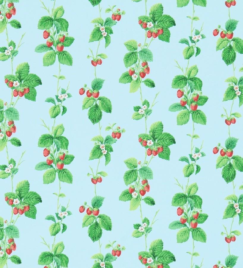 Papel pintado fresas con hojas al óleo fondo celeste aguamarina Adriana 565489