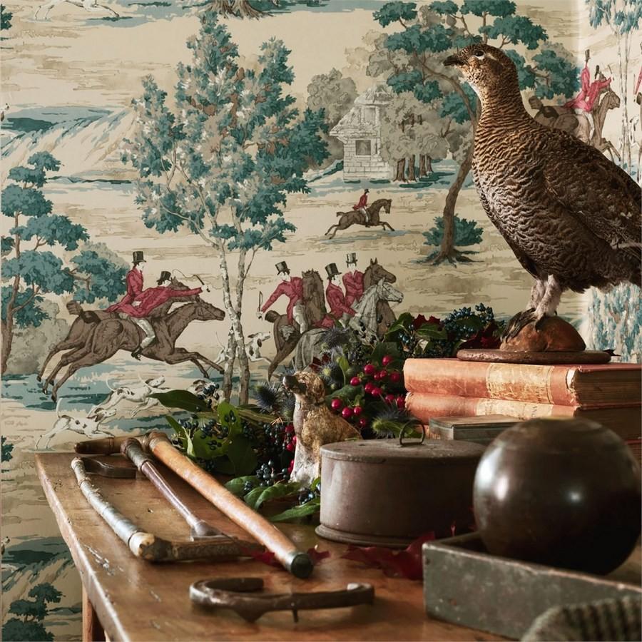 Papel pintado caza del zorro vintage inglés Braconnier 565495