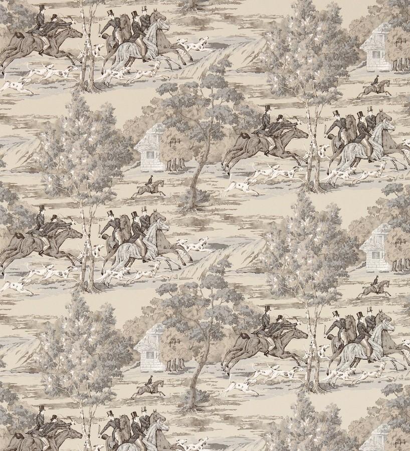 Papel pintado caza del zorro vintage inglés Braconnier 565497