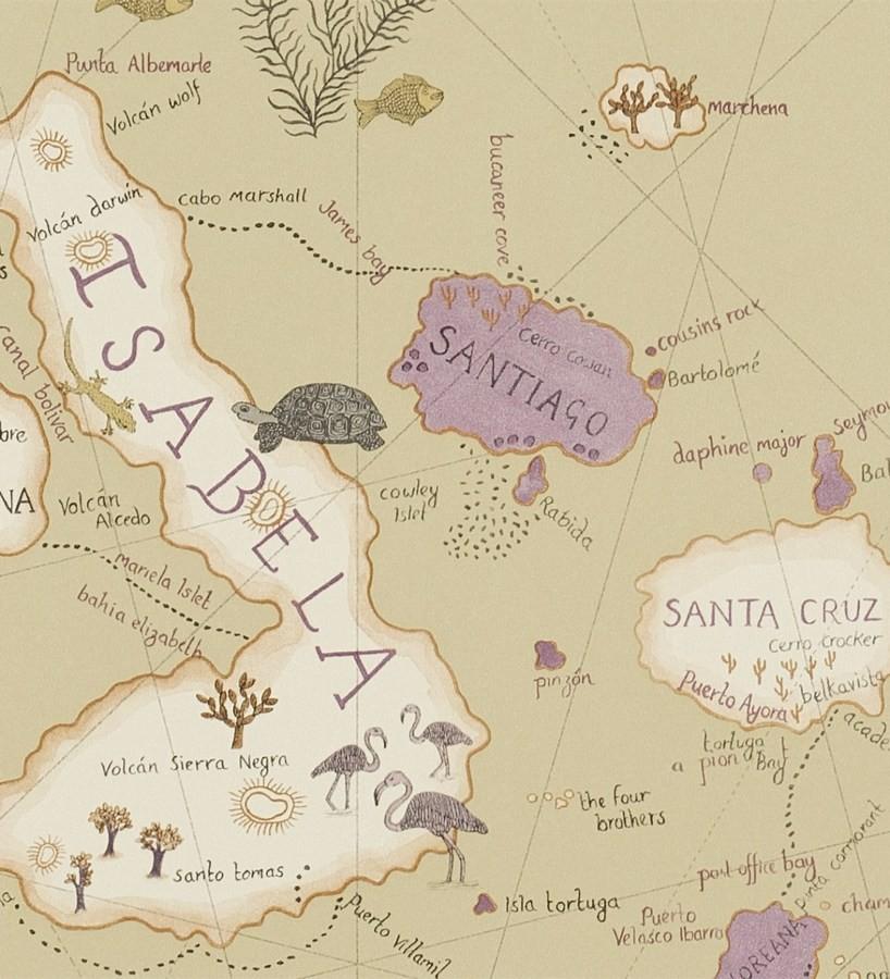 Papel pintado mapas de islas con animales vintage Gilavar 565506