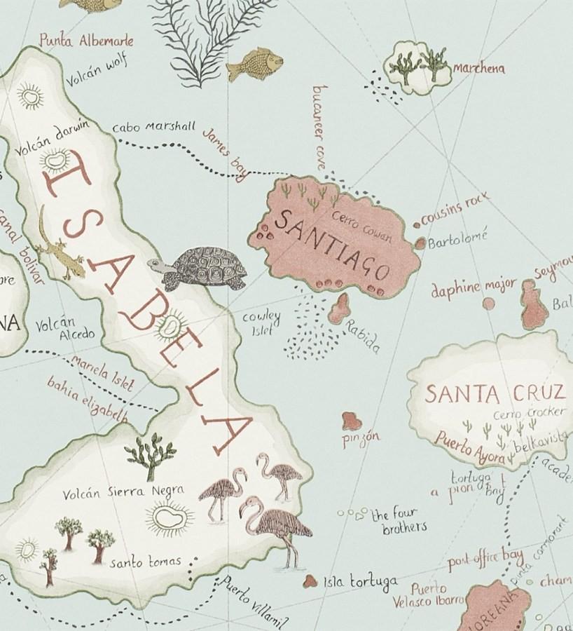 Papel pintado mapas de islas con animales vintage - Papel pintado mapa ...