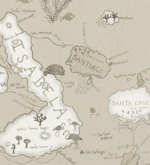 Papel pintado mapas de islas con animales vintage Gilavar 565508