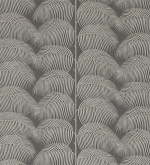 Papel pintado hojas de helecho fondo gris Biconia 565514