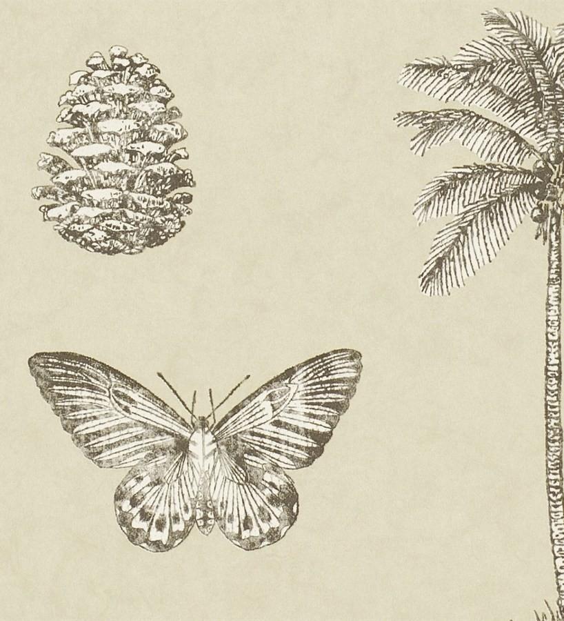Papel pintado palmeras y piñas con mariposas vintage Arvalis 565524