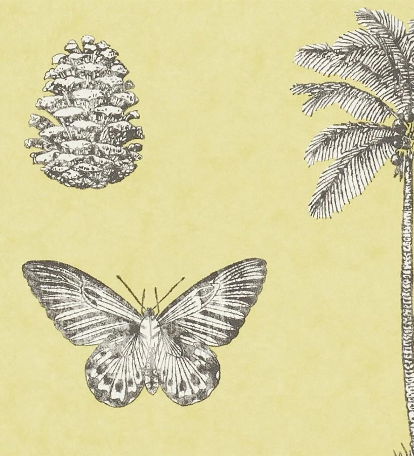Papel pintado palmeras y piñas con mariposas vintage Arvalis 565525