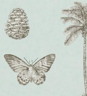 Papel pintado palmeras y piñas con mariposas vintage Arvalis 565526