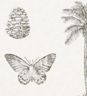 Papel pintado palmeras y piñas con mariposas vintage Arvalis 565527