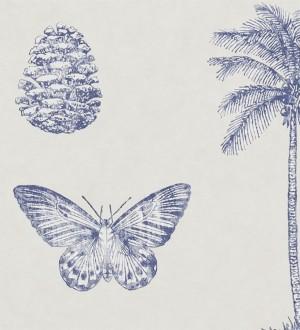 Papel pintado palmeras y piñas con mariposas vintage Arvalis 565528