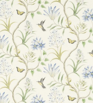 Papel pintado mariposas y colibrís con naturaleza artística Dorothy 565532