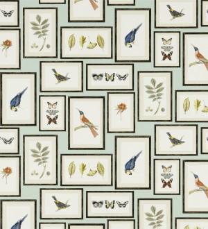 Papel pintado collage inglés de hojas y pájaros enmarcados Moray 565543