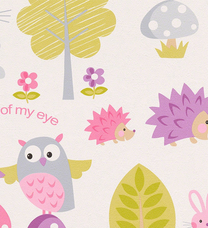 Papel pintado infantil b hos y erizos en el bosque for Papel pintado de lunares