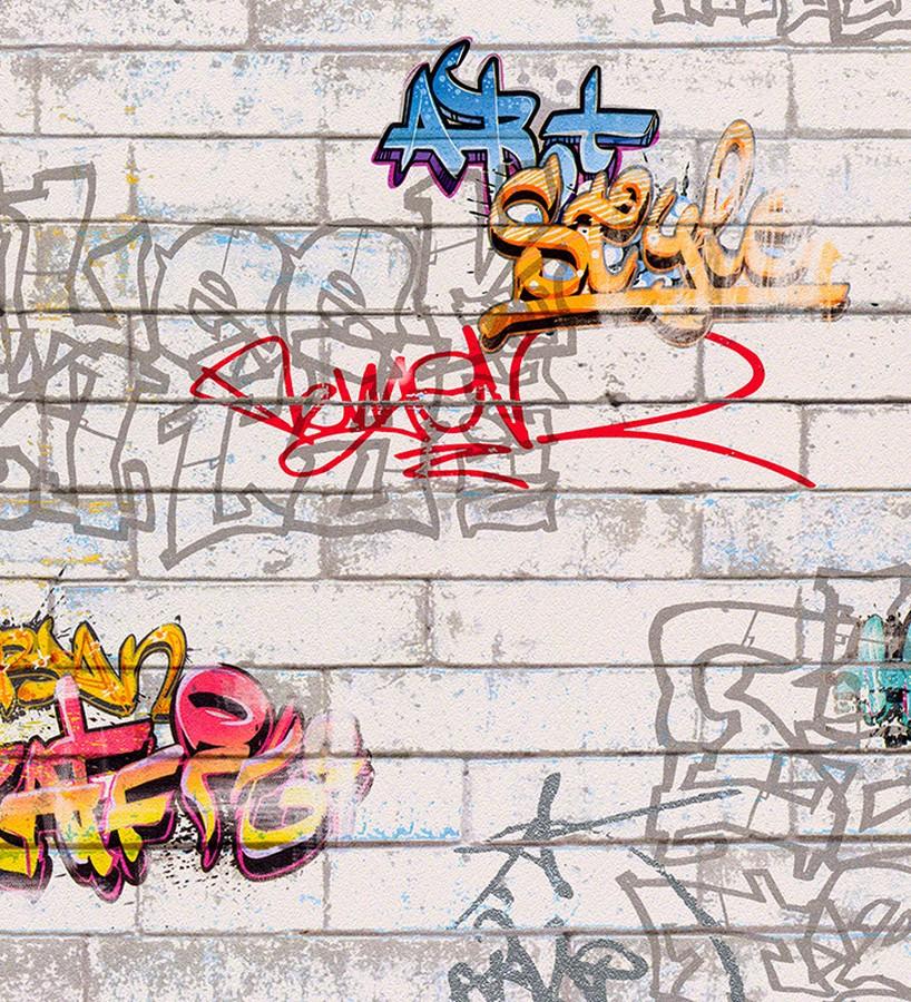 Papel pintado juvenil imitación muro de graffiti Urban Style 451689
