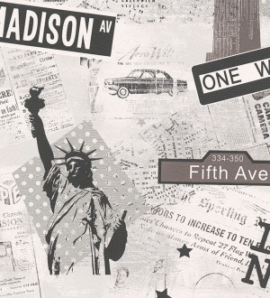 Papel pintado juvenil iconos de Nueva York negro fondo blanco New York 5 451703