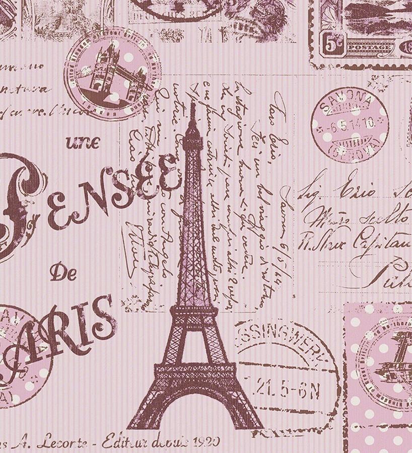 Papel pintado romántico París y Torre Eiffel rosa claro París Postcards 451712