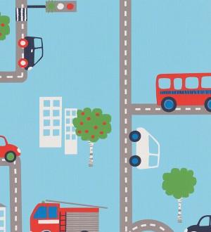 Papel pintado infantil carretera y coches fondo celeste Streets & Cars 451715