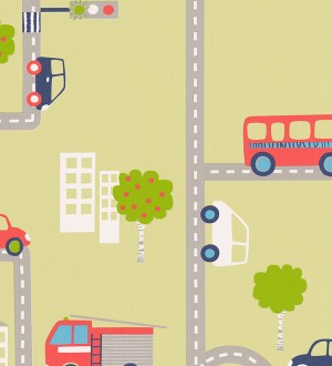 Papel pintado infantil carretera y coches fondo verde pera Streets & Cars 451716
