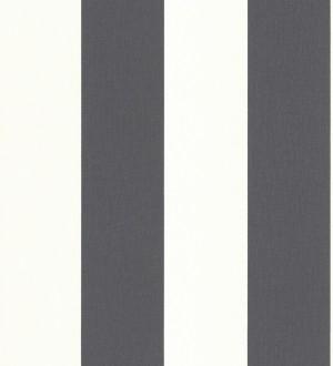 Papel pintado rayas gris oscuro y blanco imitación textil Raya Connor 451836