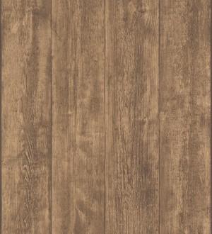Papel pintado madera de roble oscuro en listones Capri 453149