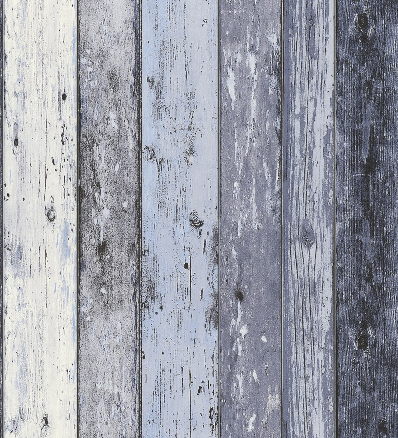 Papel pintado imitación madera decapada azul estilo nórdico Madeira 3 453156