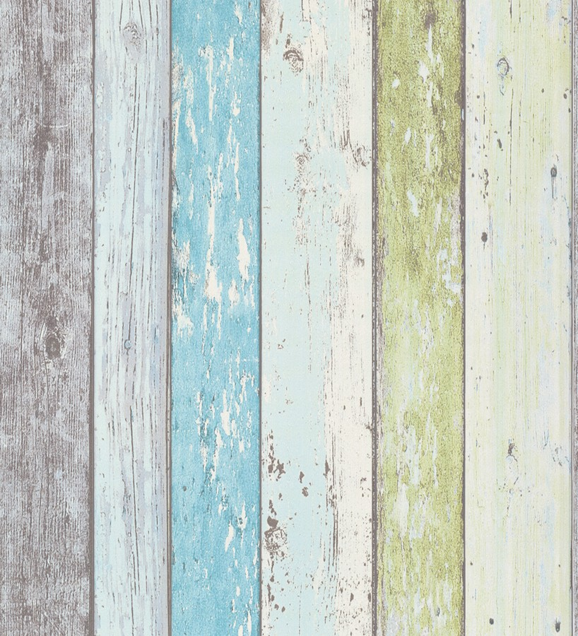 Papel pintado imitaci n madera decapada turquesa estilo for Papel vinilico para pared