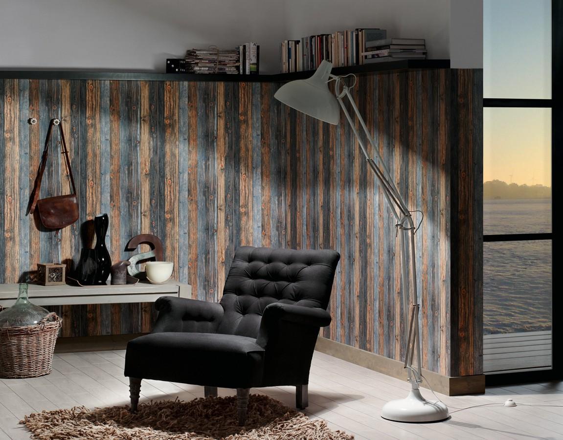 Papel pintado madera natural y azul pálido estilo rústico Duala 453174
