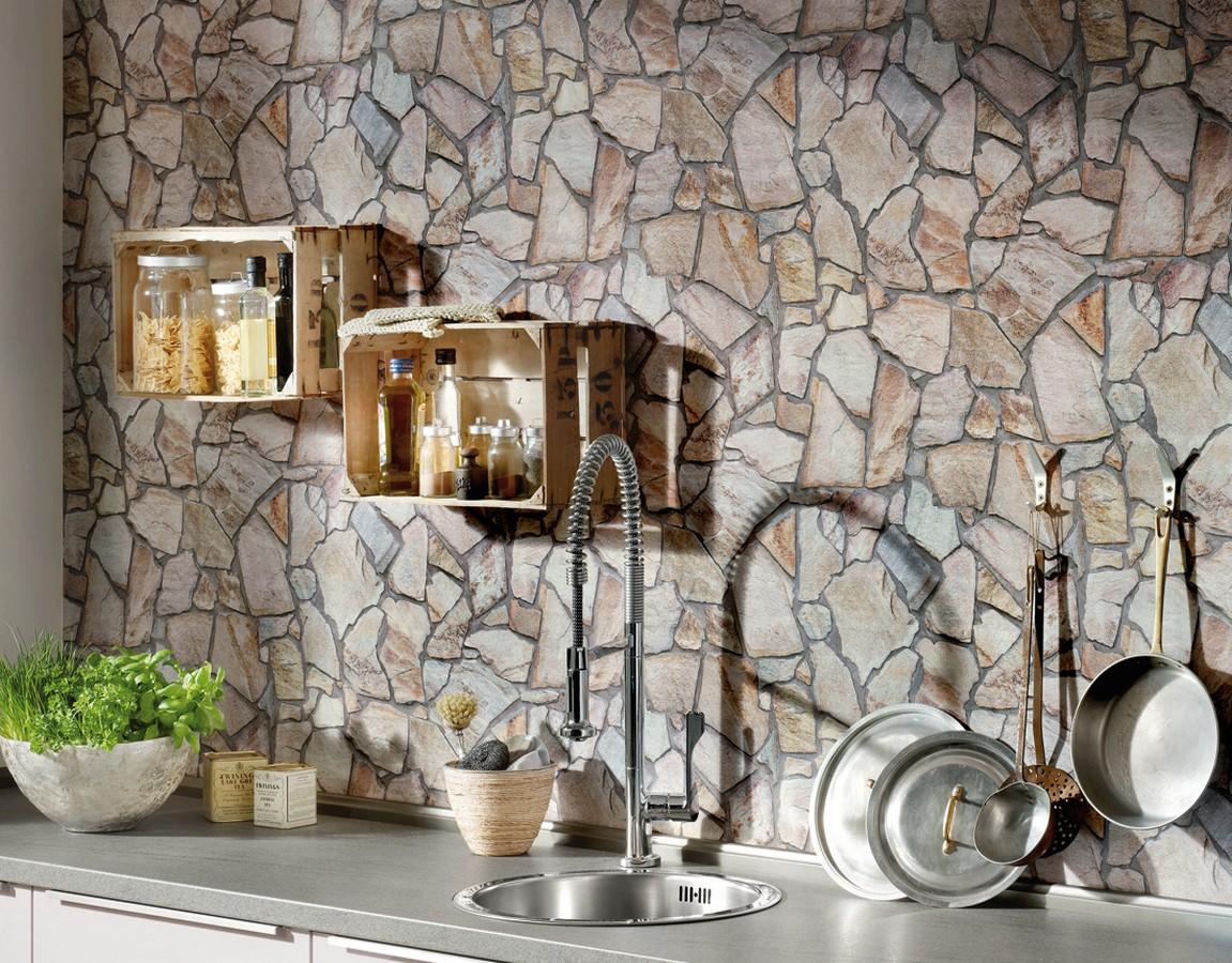 Papel pintado muro de piedra moderno superlavable vinílico Calize 453181