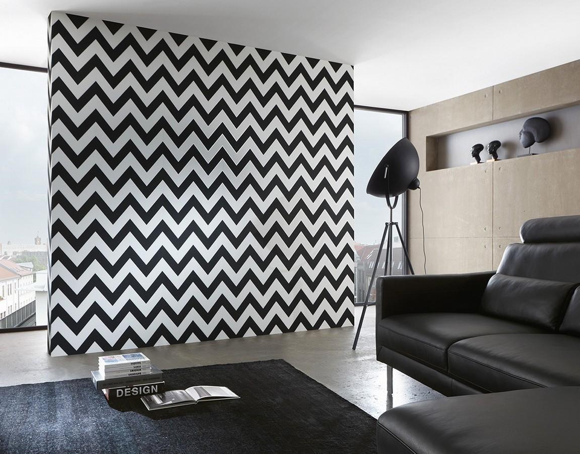 Papel pintado rayas zig zag retro blanco y negro Spica 453306