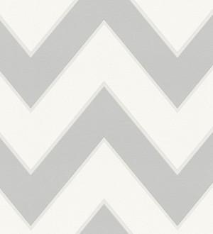 Papel pintado rayas zig zag retro grises y blancas Spica 453310