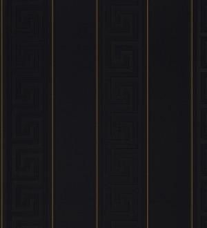 Papel pintado rayas finas dorado friso romano negro Raya Flavio 453390