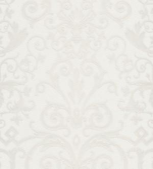 Papel pintado damasco barroco metalizado y blanco Saltanis 453397