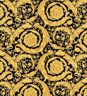 Papel pintado barroco italiano dorado fondo negro de lujo Orsini 453431