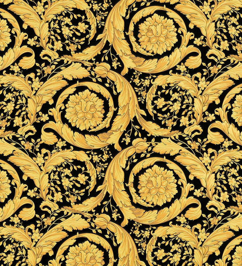 Papel pintado barroco italiano dorado fondo negro de lujo for Papel pintado barroco