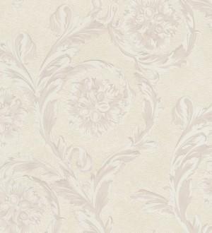 Papel pintado flores-volutas barroco blanco metalizado Fancelli 453440