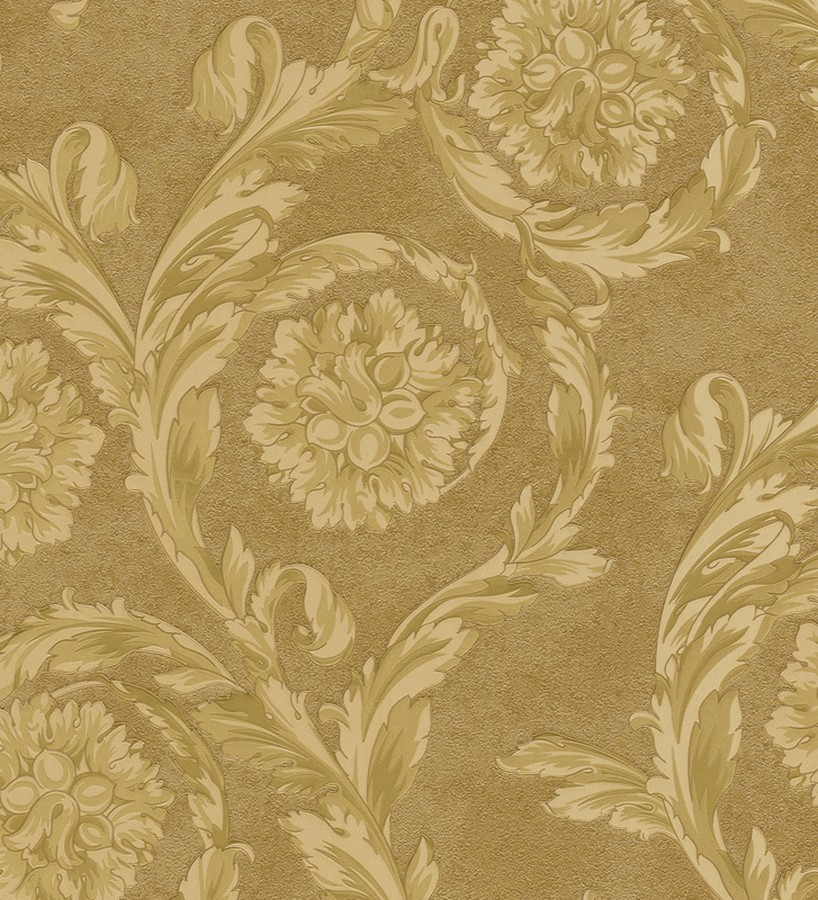 Papel pintado flores-volutas barroco dorado metalizado Fancelli 453442