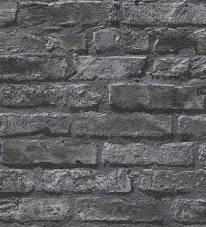 Papel pintado ladrillo estilo industrial negro Layton 453861