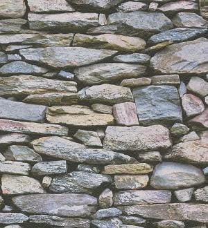 Papel pintado muro de piedra rústico campestre celeste grisáceo Plauto 453867