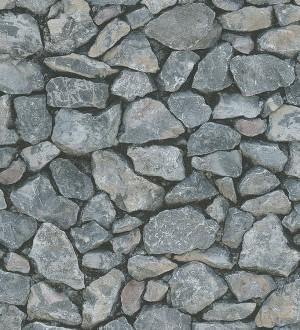 Papel pintado fotográfico muro de piedra rústico gris oscuro Loire 453873