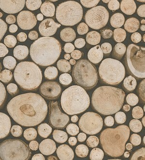 Papel pintado imitación troncos de madera estilo rústico Orzán 453875