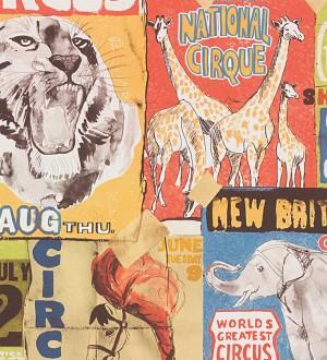Papel pintado collage de carteles de circo naranja melocotón Boccioni 453878
