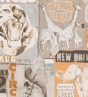 Papel pintado collage de carteles de circo naranja claro Boccioni 453879