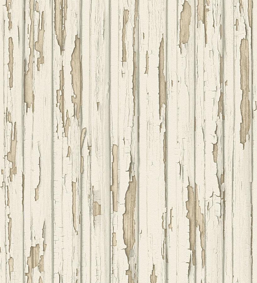 Papel pintado madera decapada beige claro estilo vintage for Papel pintado madera blanca