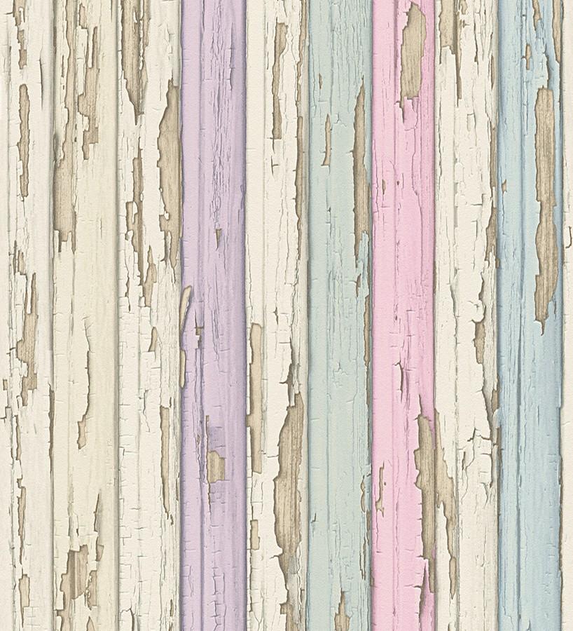 Papel pintado madera decapada violeta y turquesa claro Papel pintado vintage