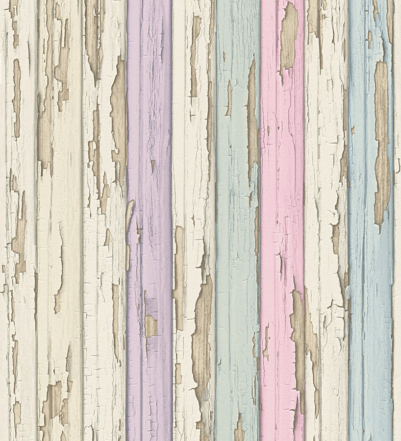 Papel pintado madera decapada violeta y turquesa claro for Papel pared turquesa