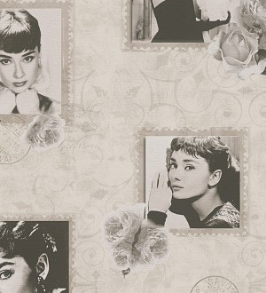 Papel pintado collage de Audrey Hepburn fondo beige pálido Audrey Hepburn Stamps 453887