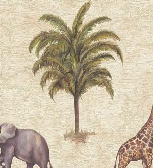 Papel pintado jirafas y elefantes de safari africano Elephas 453891