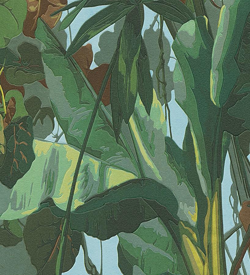Papel pintado tropical hojas de palmeras de bananero Paivae 453892