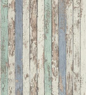 Papel pintado madera decapada blanca y de color estilo nórdico Laredo 453895
