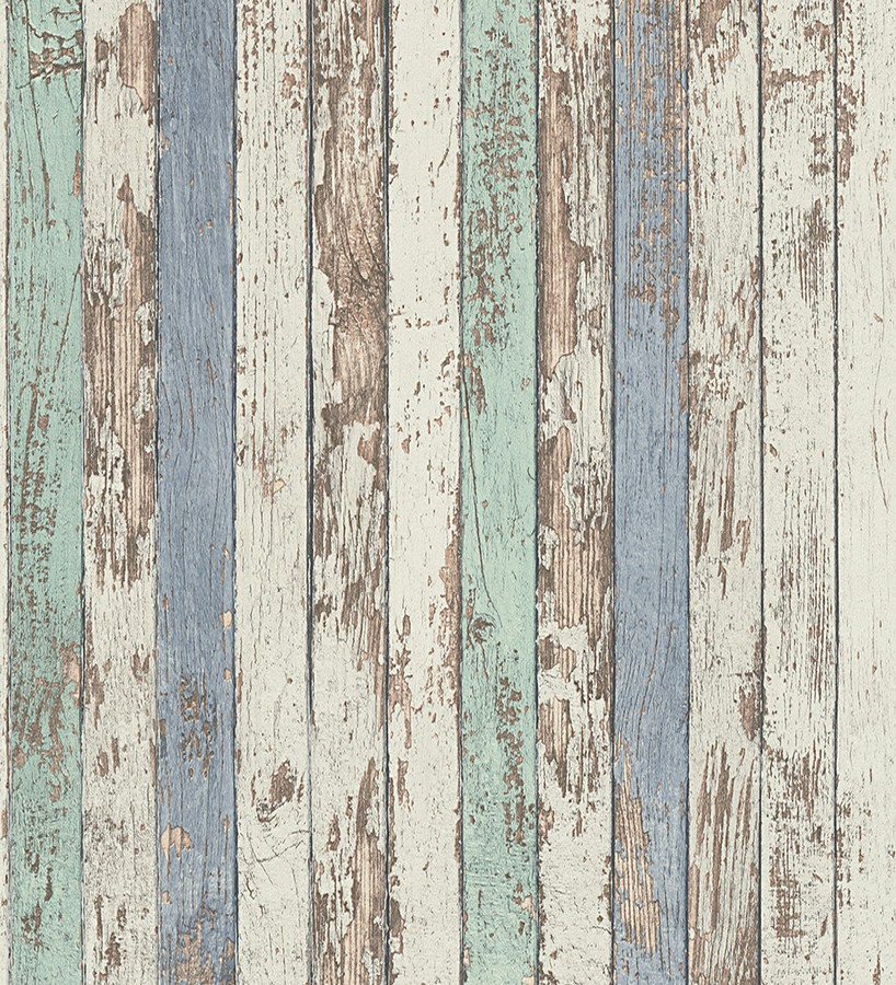 Papel pintado madera decapada blanca y de color estilo for Papel pintado madera blanca