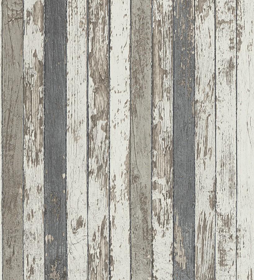 Papel pintado madera decapada blanca y gris estilo nórdico Laredo 453896